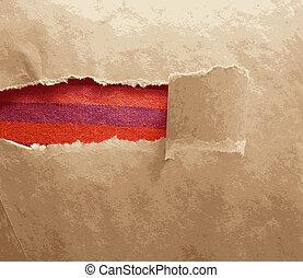 área, quadro, rasgado, tecido, textura, papel, vermelho