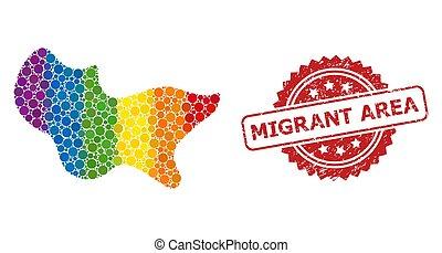 área, rasguñado, mosaico, migrant, punto, sello, estampilla, lgbt