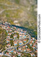 área residencial, com, inclinação, turno, lente, efeito
