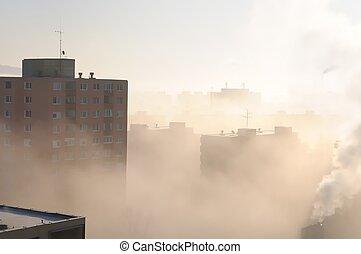 área residencial, en, niebla, y, niebla tóxica
