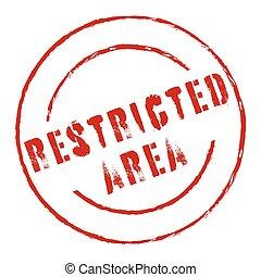 área, restringido, estampilla