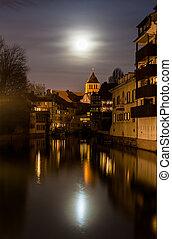Área, Rio,  Strasbourg,  petite, sobre,  -, lua, Alsácia, França, doente