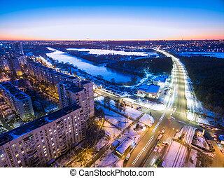 área, tarde, kharkiv, aéreo, residencial, vista, ukrai, ...