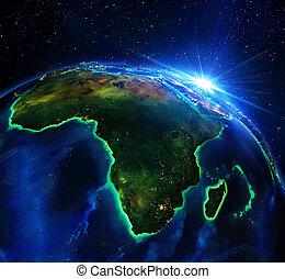 área terra, em, áfrica, a, noturna