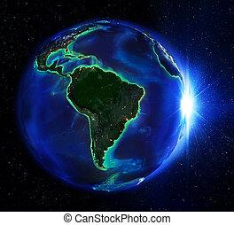 área terra, em, brasil, a, noturna