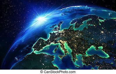área terra, em, europa, a, noturna
