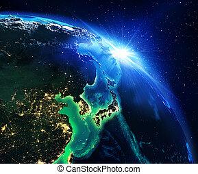 área terra, em, japão, a, noturna
