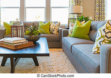área viva, com, tabela café, e, sofá