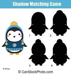 árnyék, összeillesztés, game., gyerekek, elfoglaltság, noha, csinos, tél, pingvin