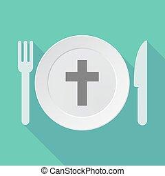 árnyék, dishware, keresztény, kereszt, hosszú