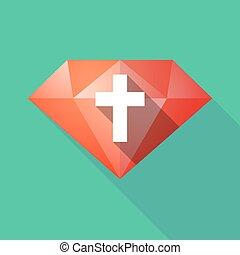árnyék, gyémánt, keresztény, kereszt, hosszú