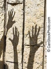 árnyék, közül, kéz