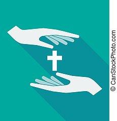 árnyék, keresztény, kereszt, hosszú, kézbesít