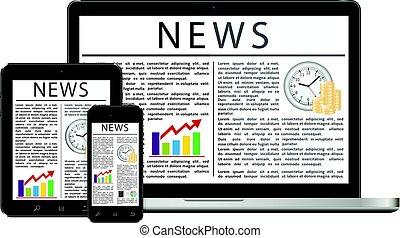 árnyékol, újságcikk, hír, berendezés, digitális