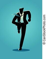 árnykép, ábra, közül, egy, businessman út