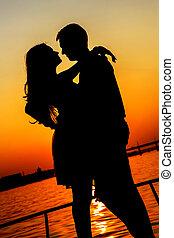 árnykép, összekapcsol megcsókol, felett, napnyugta, háttér