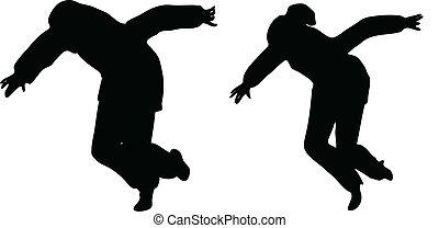 árnykép, ügy emberek, két, elindít, futás, vektor