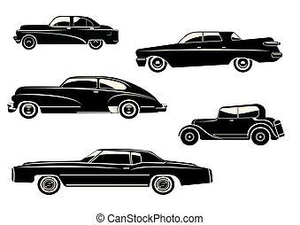 árnykép, autó, ábra, vektor, fekete, retro