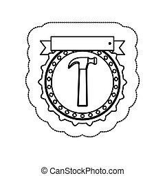 árnykép, böllér, monochrom, kalapács, keret, szalag, kör alakú