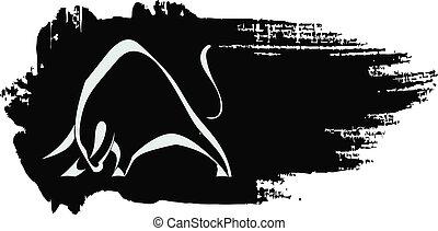 árnykép, black háttér, bika, grungy, erős, megterhelés
