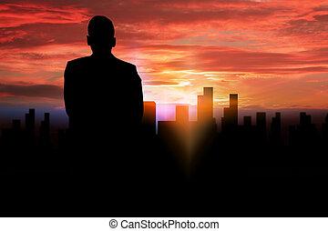 árnykép, businessman van, látszó, fordíts, a, city.