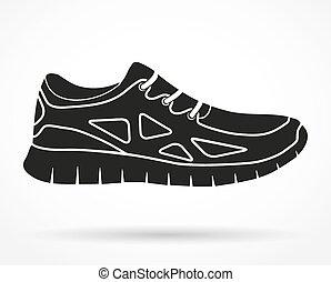 árnykép, cipők, jelkép, futás, vektor, állóképesség, sneakers., illustration.