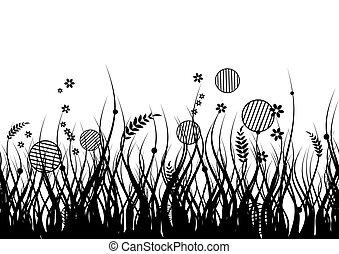 árnykép, fű, fekete