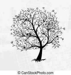 árnykép, fa, gyönyörű, tervezés, művészet, -e, fekete