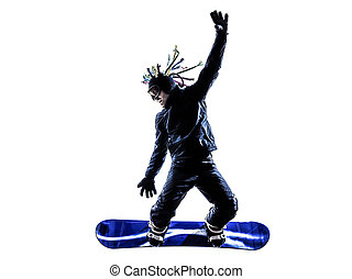 árnykép, fiatal,  snowboarder, ember