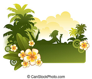 árnykép, &, frangipani, -, ábra, tropikus, vektor, leány, menstruáció, táj