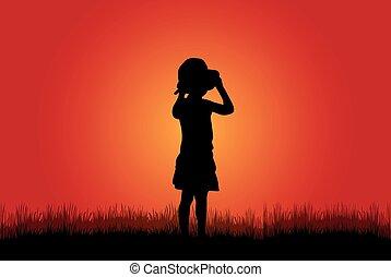 árnykép, gyerekek, természet