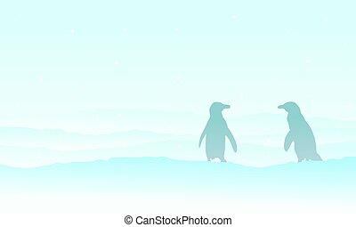 árnykép, hó parkosít, pingvin