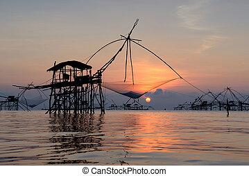 árnykép, hagyományos, halászat, módszer, használ, egy,...