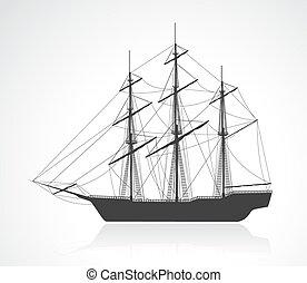 árnykép, hajó, öreg, vitorlázás, fekete
