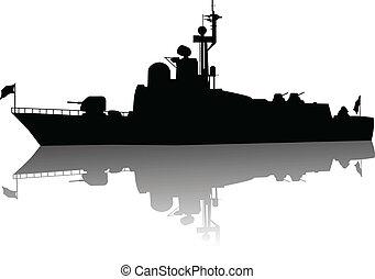 árnykép, hajó, magas, részletes