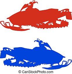 árnykép, illustration., háttér., vektor, hójáró autó, fehér