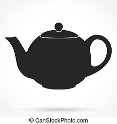 árnykép, illustration., klasszikus, jelkép, vektor, teapot.