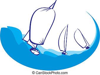 árnykép, -, jacht, regatta
