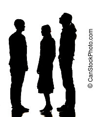árnykép, közül, 2 bábu, és, egy, nő