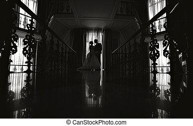 árnykép, közül, a, menyasszony inas, -ban, egy, esküvő