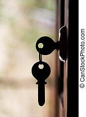 árnykép, közül, ajtó, kulcsok, felakaszt, a, nyitott kapu
