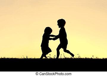 árnykép, közül, boldog, kevés, gyerekek, tánc, -ban, napnyugta