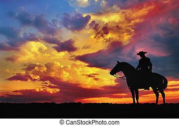 árnykép, közül, cowboy
