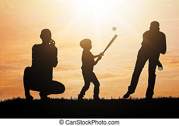 árnykép, közül, család, játék baseball