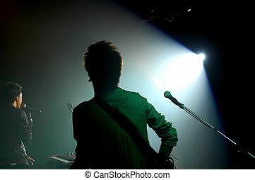 árnykép, közül, egy, éneklés