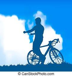árnykép, közül, egy, biciklista