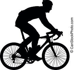 árnykép, közül, egy, biciklista, vektor, ábra