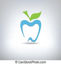 árnykép, közül, egy, fog, alatt, a, forma, közül, egy, alma,...