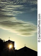 árnykép, közül, egy, kicsi, templom