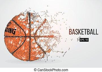 árnykép, közül, egy, kosárlabda, ball., vektor, ábra